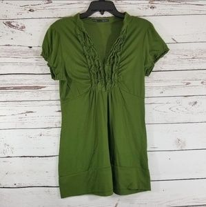 ⚡ MAURICES OLIVE GREEN V NECK RUFFLE TOP Xl